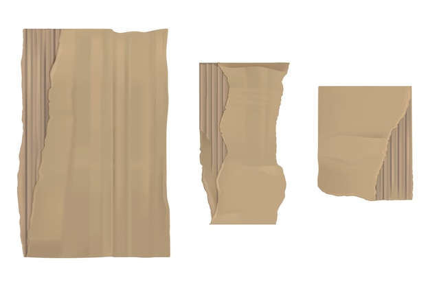 Papel de cartón rasgado. sábanas rasgadas marrones y rasgadas vector gratuito
