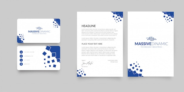 Papel con membrete moderno y tarjeta de visita con formas abstractas vector gratuito