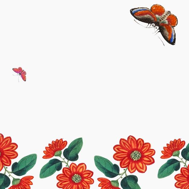 Papel pintado chino con flores y mariposas. vector gratuito