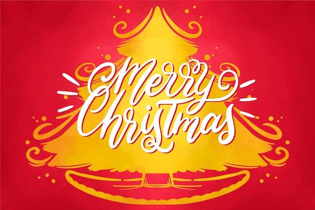 Papel pintado festivo de navidad de acuarela vector gratuito