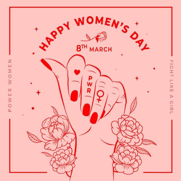 Papel pintado floral del día de la mujer Vector Premium