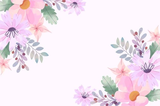 Papel pintado con flores de acuarela en colores pastel vector gratuito