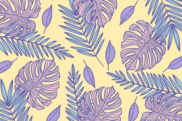 Papel pintado lineal hojas tropicales con color pastel vector gratuito