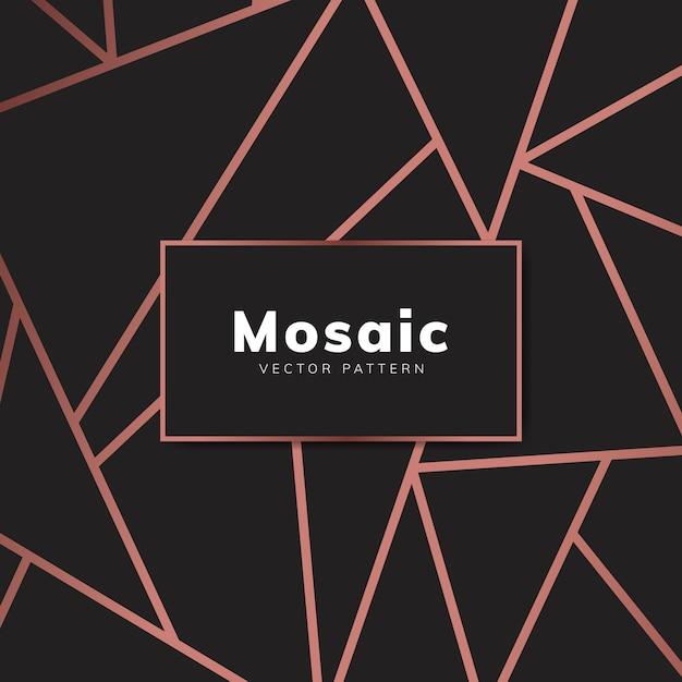 Papel pintado moderno de mosaico en oro rosa y negro vector gratuito