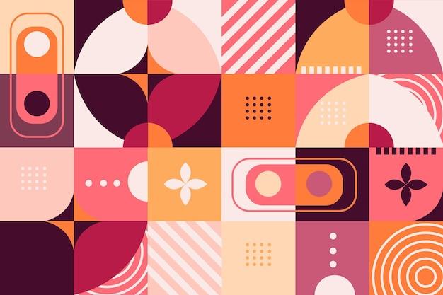 Papel pintado mural geométrico en tonos rosa y naranja Vector Premium