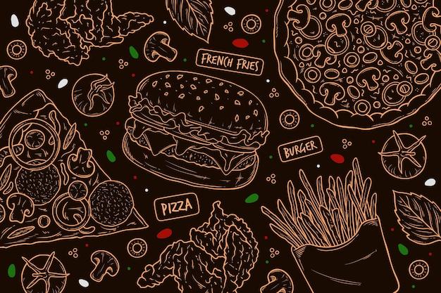 Papel pintado mural restaurante vector gratuito