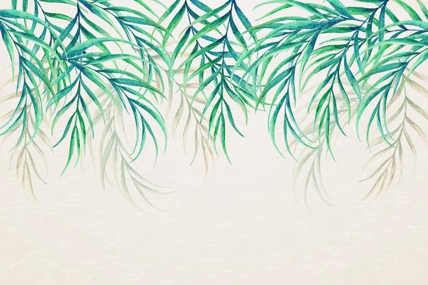 Papel pintado mural tropical hojas al revés vector gratuito