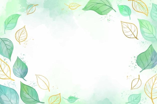 Papel pintado de naturaleza con lámina dorada vector gratuito
