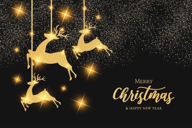 Papel pintado navideño moderno con marco dorado de renos navideños vector gratuito