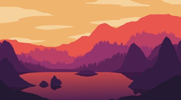 Papel pintado del paisaje en diseño plano Vector Premium
