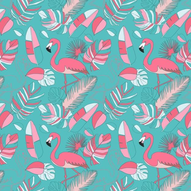 Papel pintado de patrón de flamenco rosado vector gratuito