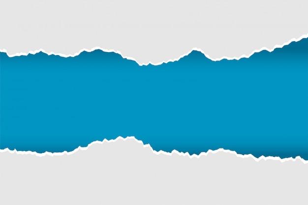 Papel rasgado rasgado realista en color azul y gris vector gratuito