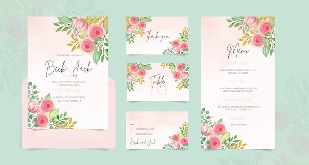 Papelería de boda con adornos florales de acuarela vector gratuito