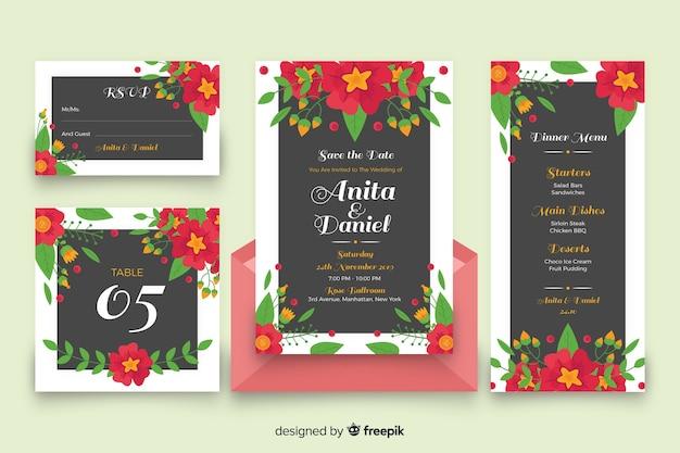 Papelería de boda floral colorida vector gratuito