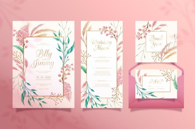 Papelería de boda floral vector gratuito