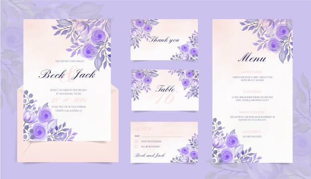 Papelería de boda con flores de acuarela vector gratuito