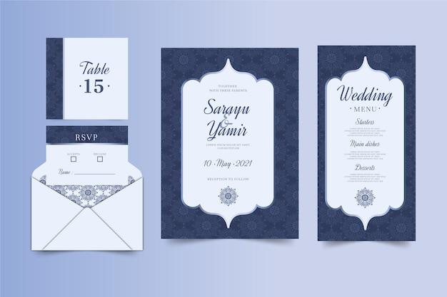 Papelería de boda india Vector Premium