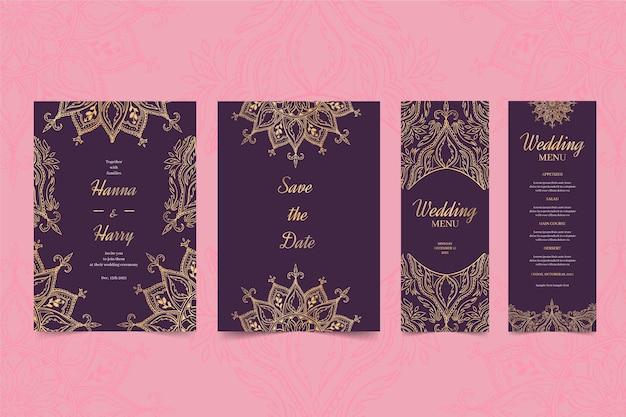 Papelería de boda india vector gratuito