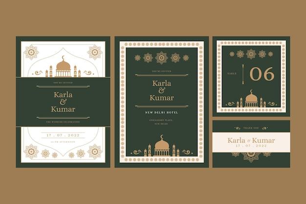 Papelería de boda para pareja india con adornos orientales vector gratuito