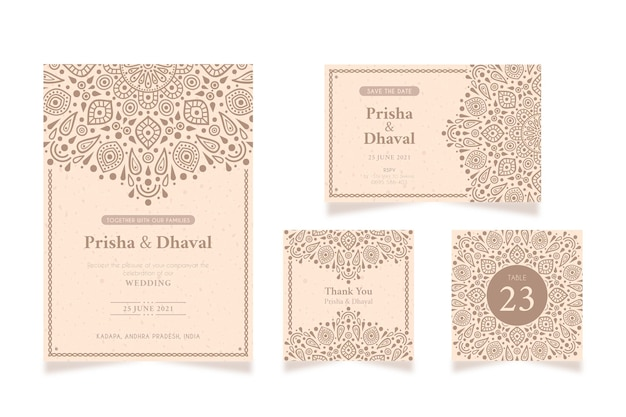 Papelería de boda para pareja india vector gratuito