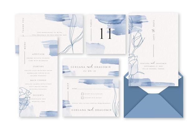 Papelería de boda pastel azul en polvo vector gratuito