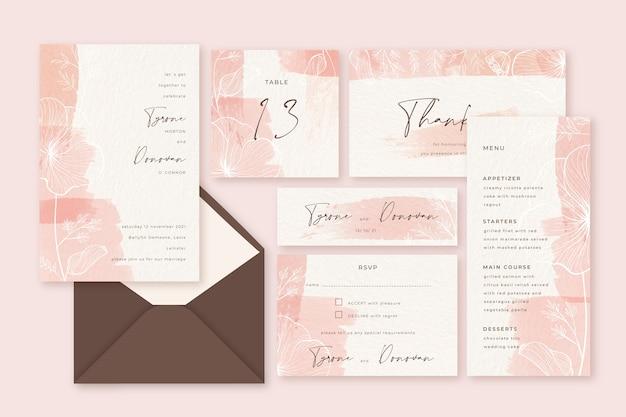 Papelería de boda rosa pastel en polvo vector gratuito