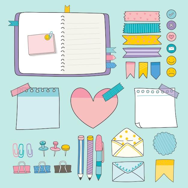 Papelería colorida colección de suministros. vector gratuito