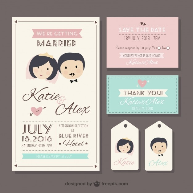 papelera de boda retro en estilo lindo vector premium