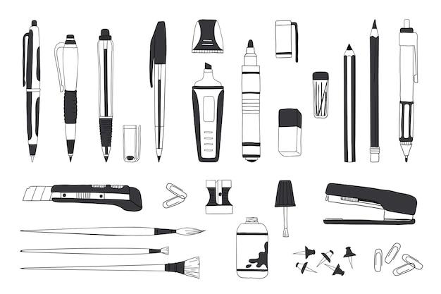 Papelería dibujada a mano. doodle de herramientas de lápiz y pincel, boceto de accesorios escolares y de oficina. Vector Premium