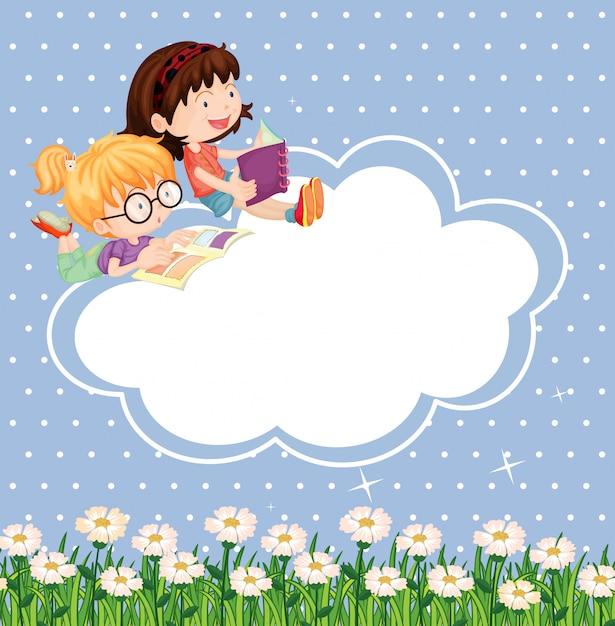 Una papelería con niños leyendo. vector gratuito
