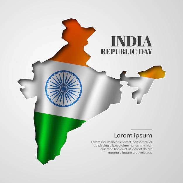 Paper cut india republic day Vector Premium