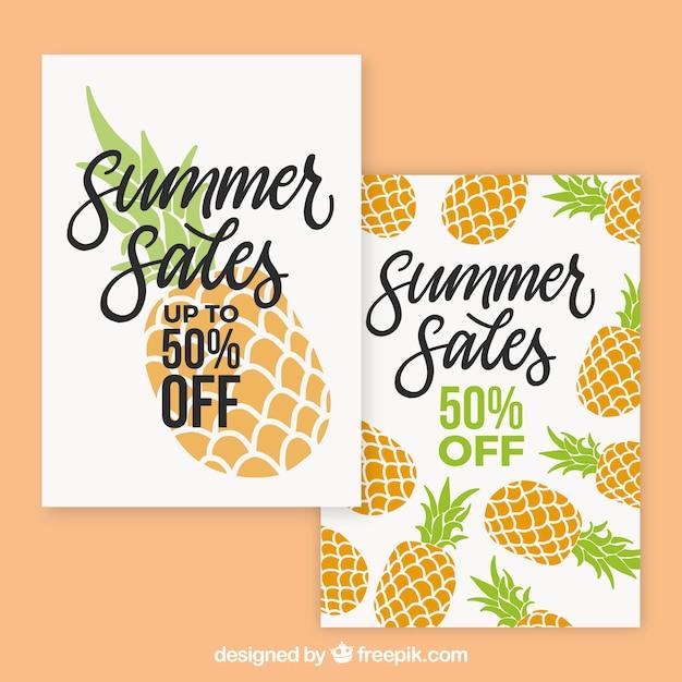 Paquede de tarjetas de venta de verano con piñas vector gratuito