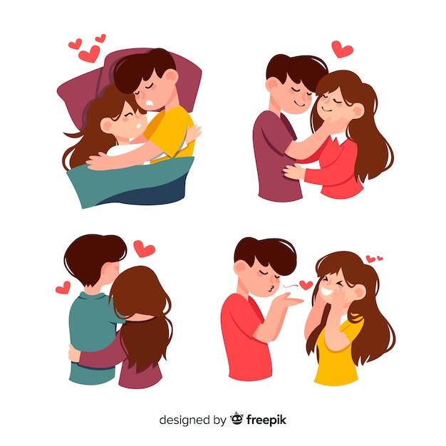Paquete actividades parejas día de san valentín vector gratuito