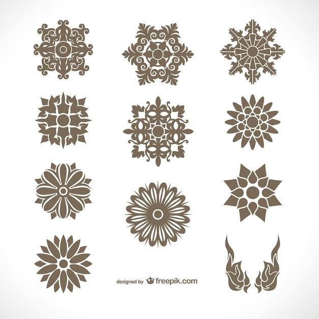 Paquete de adornos de estilo tailandés vector gratuito