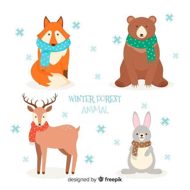Paquete animales bosque invierno vector gratuito