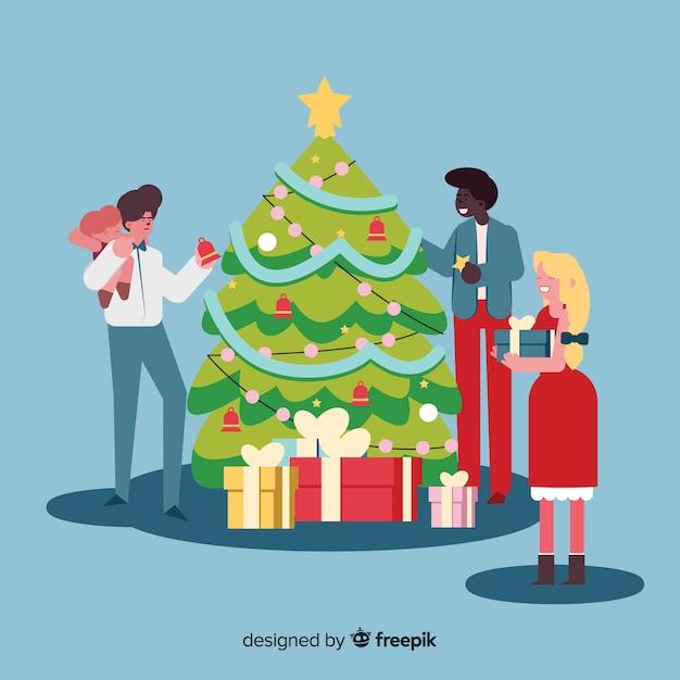 Paquete de árbol de navidad para decorar personas vector gratuito