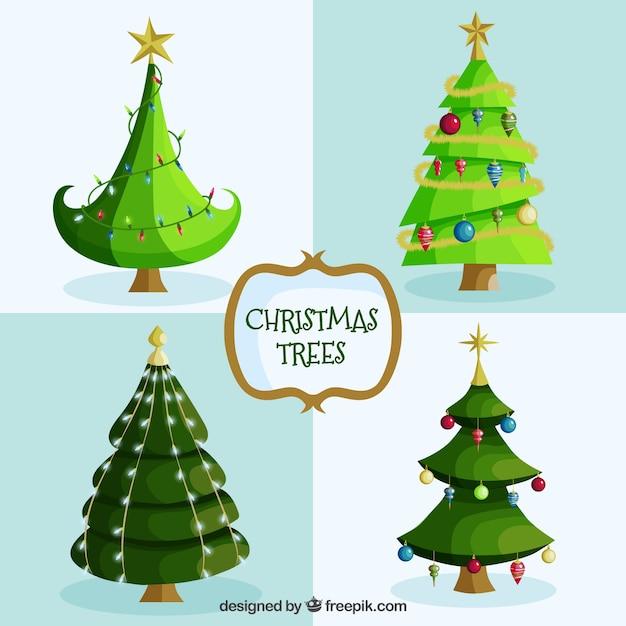 Paquete De árboles De Navidad De Dibujos Animados Descargar