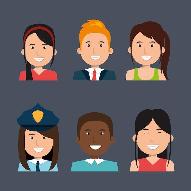 Paquete de avatar de diferentes personas vector gratuito