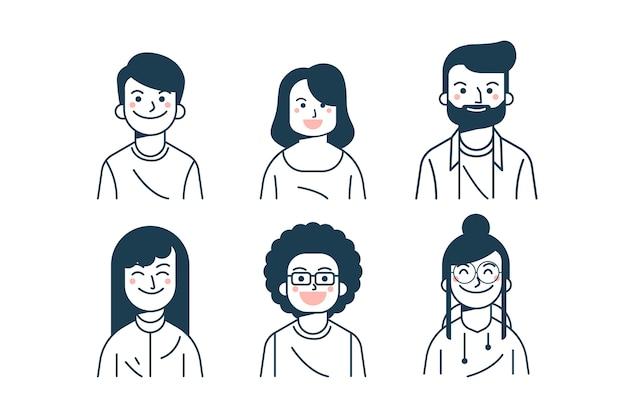 Paquete de avatares de personas Vector Premium