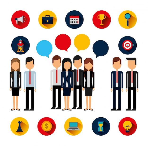Paquete de avatares y suministros de personas de negocios vector gratuito