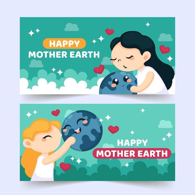 Paquete de banner del día de la madre tierra de diseño plano vector gratuito