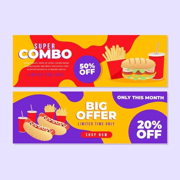 Paquete de banner horizontal para ofertas combinadas vector gratuito