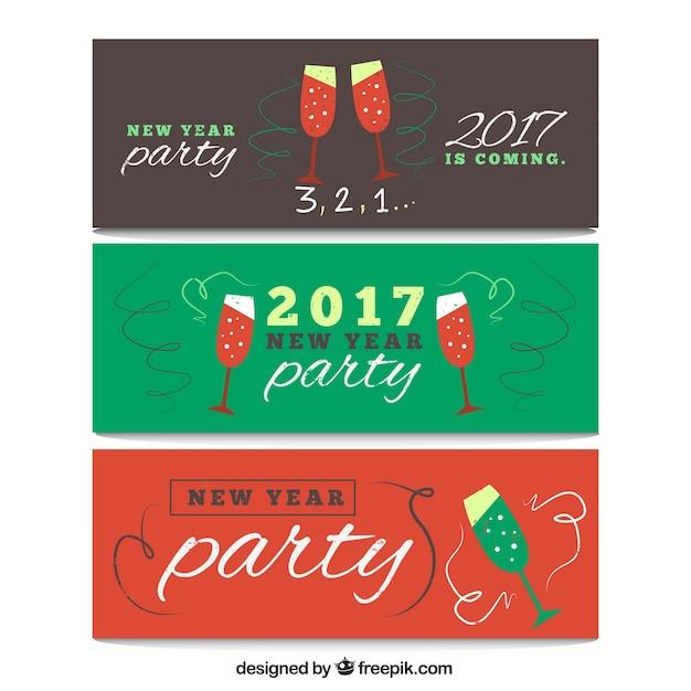 Paquete de banners de año nuevo dibujados a mano Vector Premium