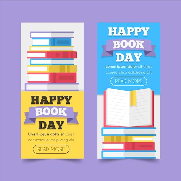 Paquete de banners del día mundial del libro de diseño plano vector gratuito
