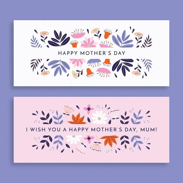 Paquete de banners de diseño plano para el día de la madre vector gratuito