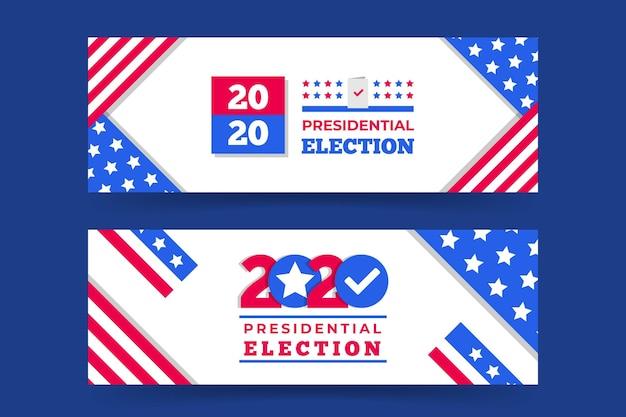 Paquete de banners de elecciones presidenciales de 2020 en ee. uu. vector gratuito