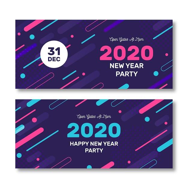 Paquete de banners de fiesta de año nuevo 2020 abstracto vector gratuito