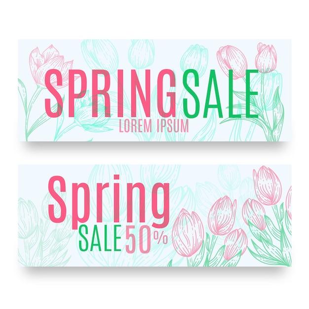 Paquete de banners de venta de primavera dibujados a mano vector gratuito