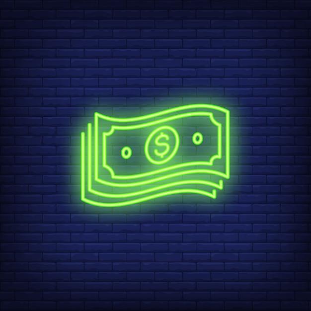 Paquete de billetes de dólar letrero de neón vector gratuito