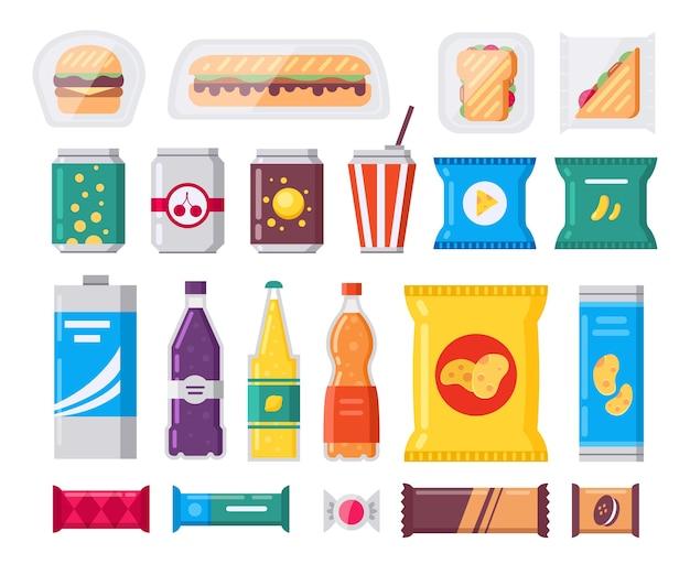 Paquete de bocadillos y bebidas de comida rápida, iconos en estilo plano. colección de productos vending. aperitivos, bebidas, patatas fritas, galletas, café, sándwich aislado sobre fondo blanco. Vector Premium